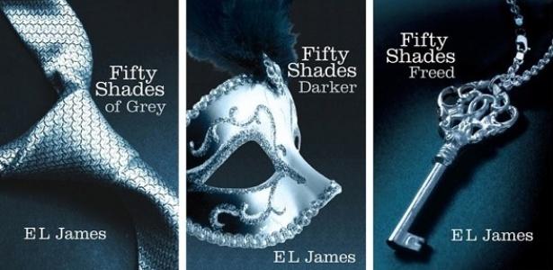 """Capas da trilogia """"Fifty Shades"""", de E.L.James - Reprodução"""