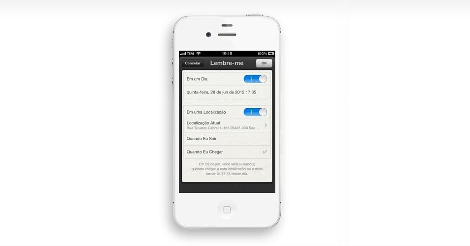 Configurar lembretes. No iOS5, foi adicionado o aplicativo Lembretes. Você pode configurar alertas, tanto para uma determinada data/hora ou local (por exemplo, você chega ao supermercado, ele avisa que você precisa comprar algo)
