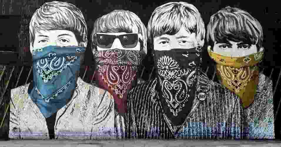 O americano Mr Brainwash, pseudônimo de Thierry Guetta, tem vários trabalhos espalhados pelas ruas londrinas (27/6/12) - Joe - LDNGraffiti.co.uk
