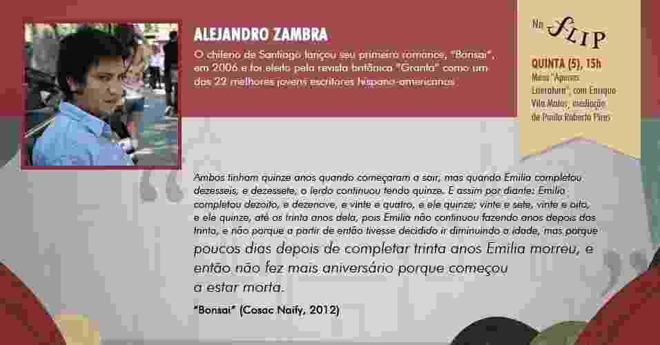 """""""poucos dias depois de completar trinta anos Emilia morreu, e então não fez mais aniversário porque começou a estar morta."""" - """"Bonsai"""", de Alejandro Zambra (Cosac Naify, 2012) - Arte/UOL"""
