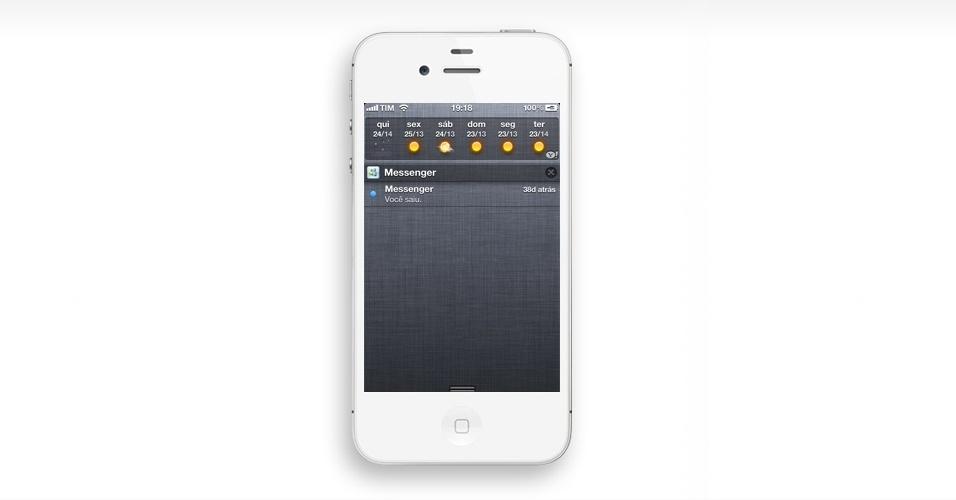 Ver a Central de Notificações. Uma das novidades do iOS 5 foi a criação de uma central de notificações (bem semelhante a existente em celulares Android). Para acessá-la, apoie o dedo na barra superior do telefone e a deslize para baixo