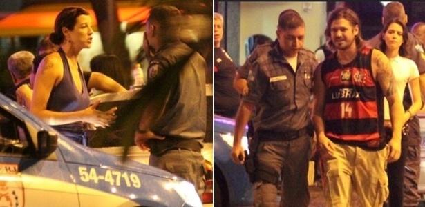 Em frente a uma pizzaria do Rio, Luana chama a polícia para garantir que Dado mantenha a distância determinada pela Justiça (28/2/11)