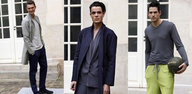 Looks de Gustavo Lins para o Verão 2013 na semana de moda masculina de Paris (29/06/2012) - François Guillot/AFP