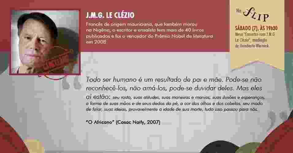 """""""Todo ser humano é um resultado de pai e mãe. Pode-se não reconhecê-los, não amá-los, pode-se duvidar deles."""" - """"O Africano"""", de J.M.G. Le Clézio (Cosac Naify, 2007). Mesa cancelada - Arte/UOL"""
