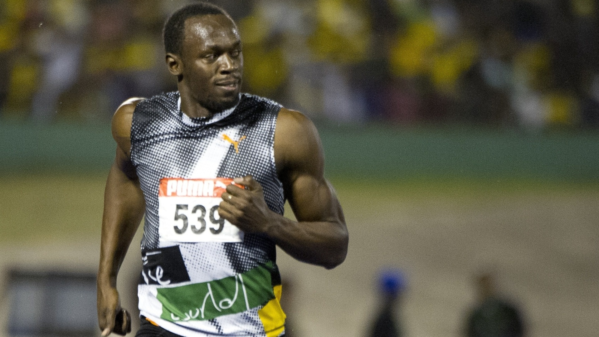 Usain Bolt durante a seletiva olímpica jamaicana