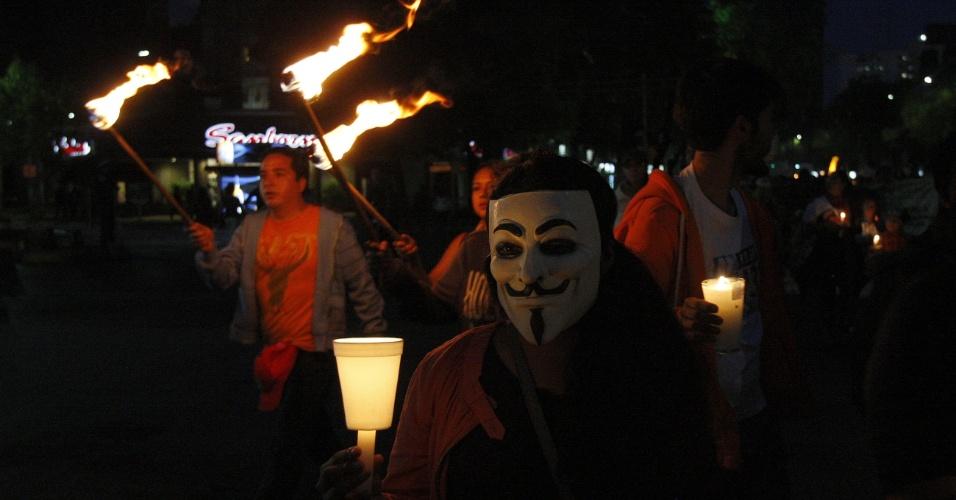 """1º.jul.2012 - Membros do movimento """"Yo Soy 132"""" (""""Eu sou 132"""") marcham na Cidade do México"""