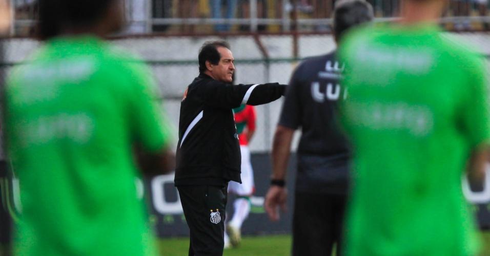 Muricy Ramalho, técnico do Santos, passa instruções para seus jogadores na partida contra a Portuguesa
