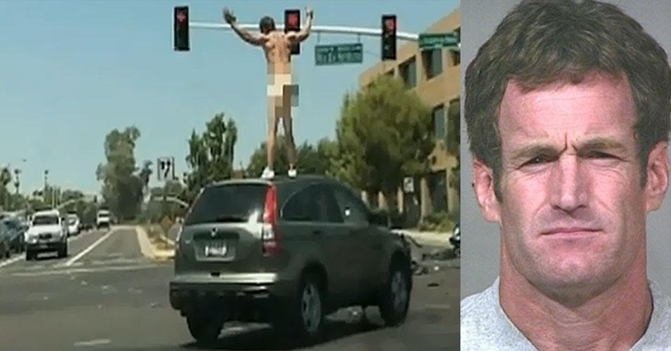 02.jul.2012 - A polícia da cidade de Scottsdale, que fica no Arizona (Estados Unidos) saiu em busca de John Brigham, 45, depois que ele provocou acidentes, interditou ruas e deixou sete pessoas feridas na cidade. Brigham ficou sem roupas durante uma tentativa de roubo a carro, no meio de um cruzamento enorme da cidade