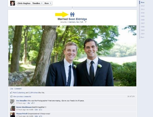 Chris Hughes (esq.) e Sean Eldridge se casaram no último sábado e publicaram a novidade no Facebook - Reprodução