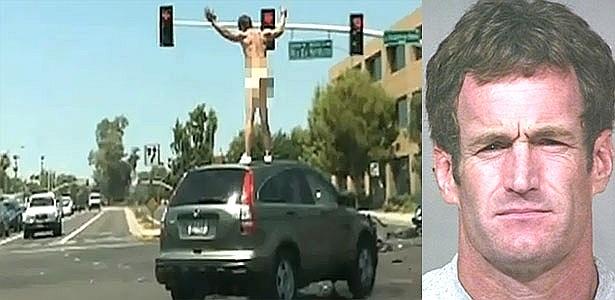 John Brigham sobe peladão em cima de veículo e fica dançando