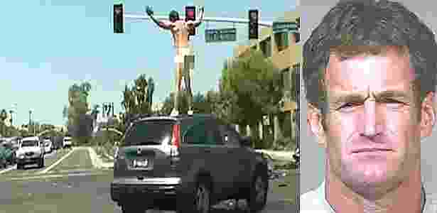 John Brigham sobe peladão em cima de veículo e fica dançando - Reprodução