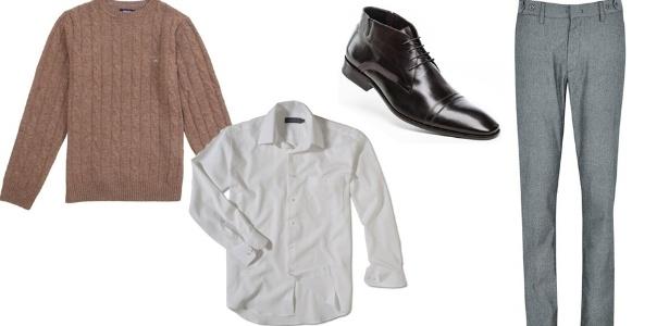 O suéter de gola careca pode ser usado de modo casual elegante quando combinado com calça de alfaiataria e camisa de manga longa e sapato ou botina de couro - Divulgação