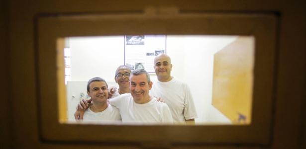Da esquerda para a direita: Antonio Marcos de Freitas, Venilton Leonardo Vinci , Benedito Paulo Reis e Matheus Henrique Daniel, condenados na penitenciária 1 de Serra Azul (SP)