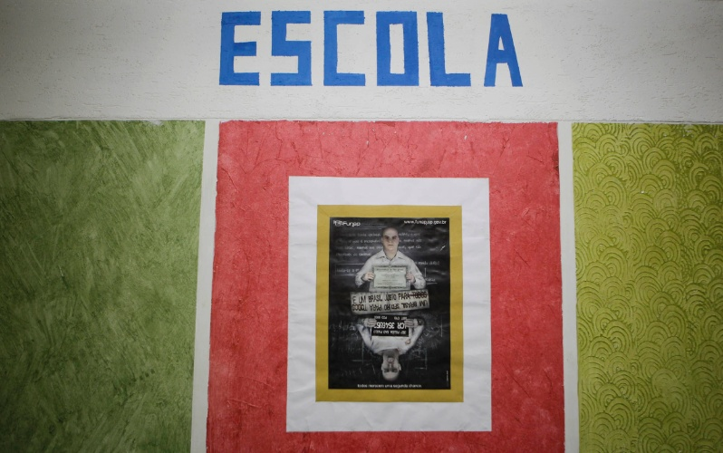 Entrada do pavilhão educacional da Penitenciária I de Serra Azul