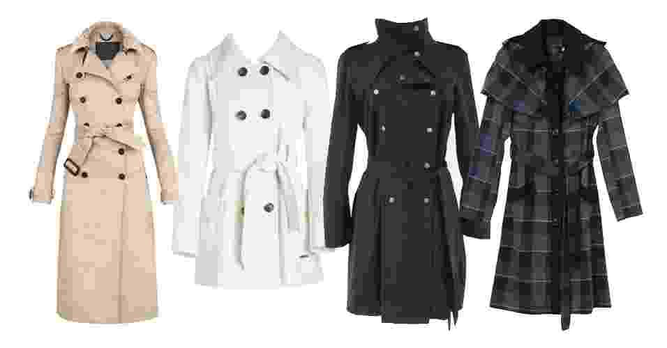 Criado na Primeira Guerra Mundial, o trench coat se tornou um clássico. Para os dias mais frios é uma boa opção para quem quer se agasalhar com estilo, sem perder a elegância. O casaco, que geralmente é na altura dos joelhos (mas também pode ser mais curto ou mais comprido), é versátil e pode ser usado em diversas combinações e em diferentes ocasiões - Divulgação