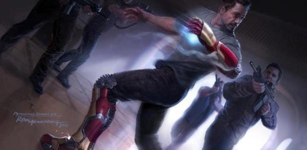 """Divulgada primeira imagem conceitual de """"Iron Man 3"""", que mostra o personagem Tony Stark (papel de Robert Downey Jr.), sendo cercado por homens armados"""