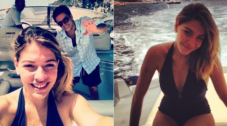 Em lua-de-mel na Itália, a atriz Luma Costa divulgou fotos de um passeio de barco (3/7/12)