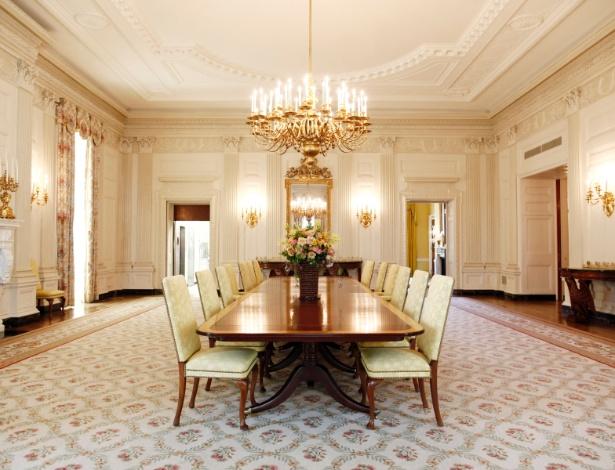 A Sala de Jantar do Estado está entre as mais grandiosas salas abertas à visitação do público - Luke Sharrett/The New York Times