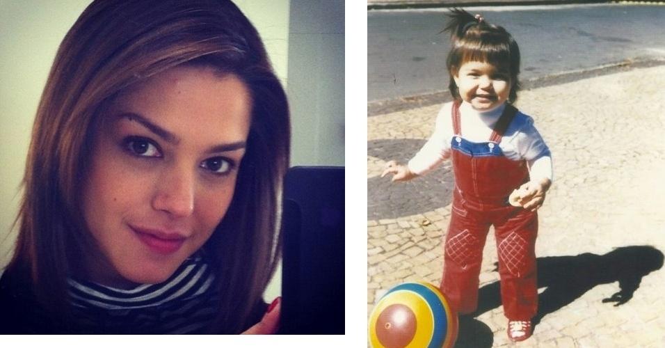 """Thais Fersoza publicou uma foto de quando era criança. """"Eu, minhas bochechas, franja, xuca e meu pãozinho no Taquaral em Campinas! Infância boa. Uns 25 anos atrás só,"""" escreveu a atriz (3/7/12)"""