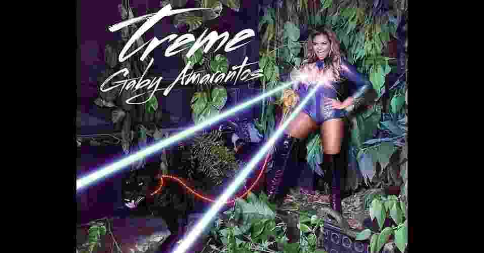 """A capa do recém-lançado álbum """"Treme"""" mostra a que Gaby veio: colant, bota acima do joelho, brincos de argola e lasers  - Divulgação"""
