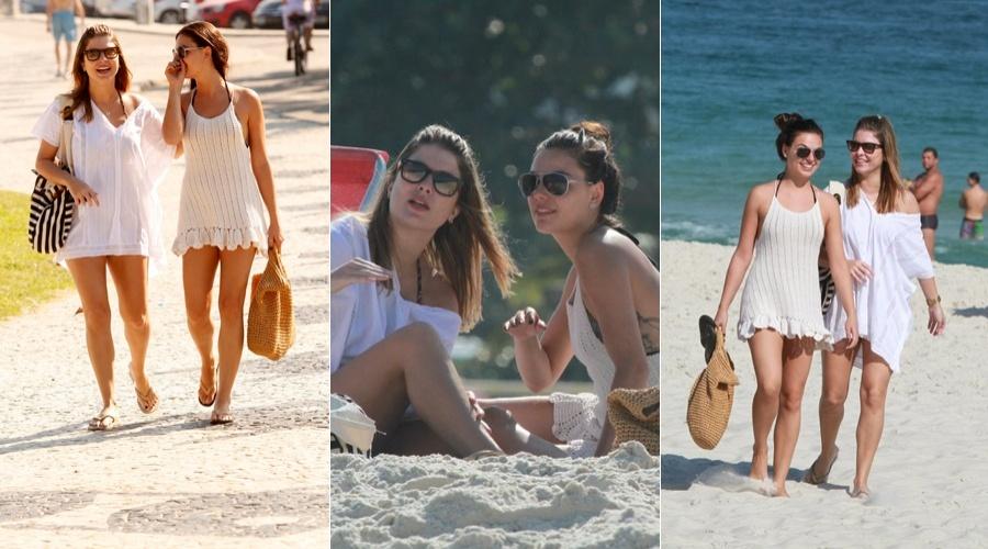 As atrizes Bárbara Borges e Isis Valverde curtiram a praia na Barra, zona oeste do Rio, nesta quarta (4/7/12)