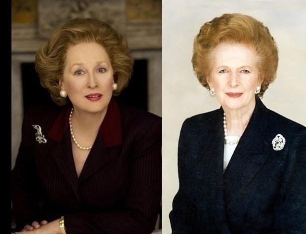 Meryl Streep (esq.) como Margaret Thatcher (dir.) para o filme