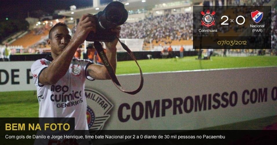 .Corinthians 2 X 0 Nacional (PAR): Com gols de Danilo e Jorge Henrique, time bate Nacional por 2 a 0 diante de 30 mil pessoas no Pacaembu