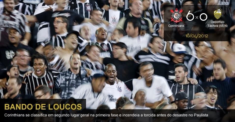 .18/04/2012 - Corinthians 6 x 0 Deportivo Táchira (VEN): Corinthians se classifica em segundo lugar geral na primeira fase e incendeia a torcida antes do desastre no Paulista