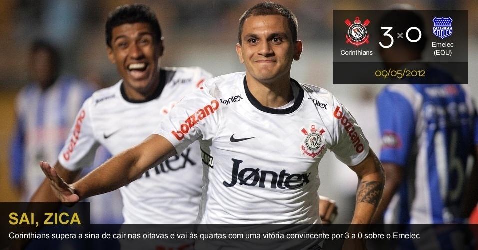 .09/05/2012 - Corinthians 3 x 0 Emelec (EQU): Corinthians supera a sina nas oitavas e vai às quartas com vitória convincente por 3 a 0 sobre o Emelec