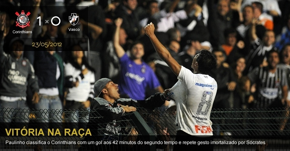 .23/05/2012 - Corinthians 1 x 0 Vasco: Paulinho classifica o Corinthians com um gol aos 42 minutos do segundo tempo e repete gesto imortalizado por Sócrates
