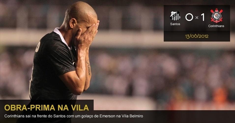 .13/06/2012 - Santos 0 x 1 Corinthians: Corinthians sai na frente do Santos com um golaço de Emerson na Vila Belmiro