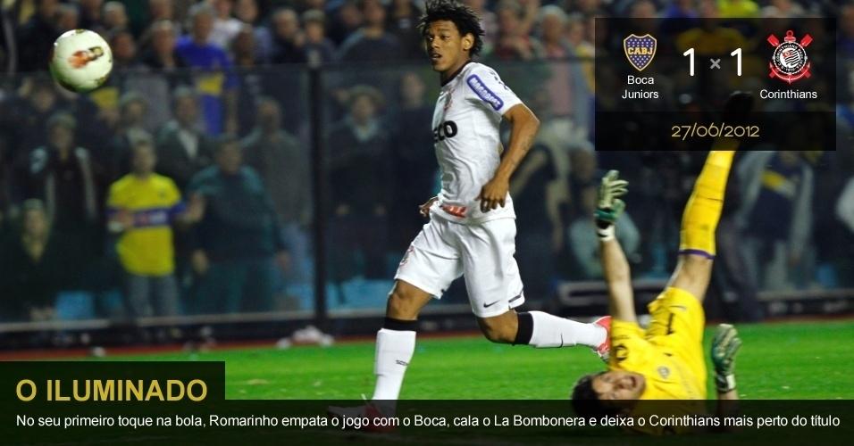 .27/06/2012 - Boca Juniors 1 x 1 Corinthians: No seu primeiro toque na bola, Romarinho empata o jogo com o Boca, cala o La Bombonera e deixa o Corinthians mais perto do título