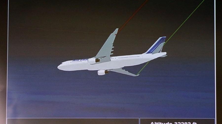 Simulação mostra o último voo AF 447 da Air France, avião que caiu com 228 pessoas a bordo no dia 31 de maio de 2009 - Patrick Koravik/AFP