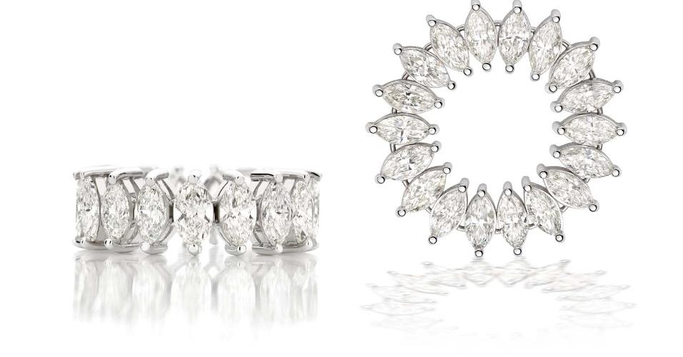Aliança de noivado maleável em ouro branco com navetes de diamantes da joalheria Talento Joias (www.talentojoias.com.br)