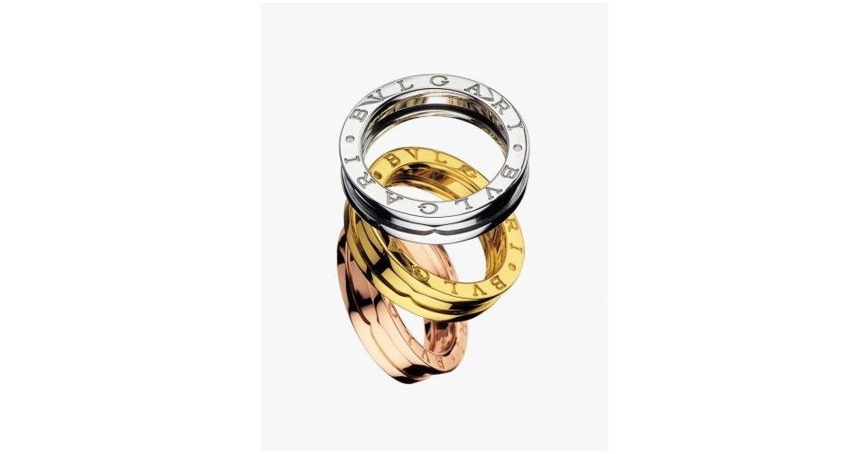 B Zero com uma banda de ouro amarelo, uma banda de ouro rosê e uma banda de ouro branco, na Bvlgari (Tel.: 11 3081-8833)