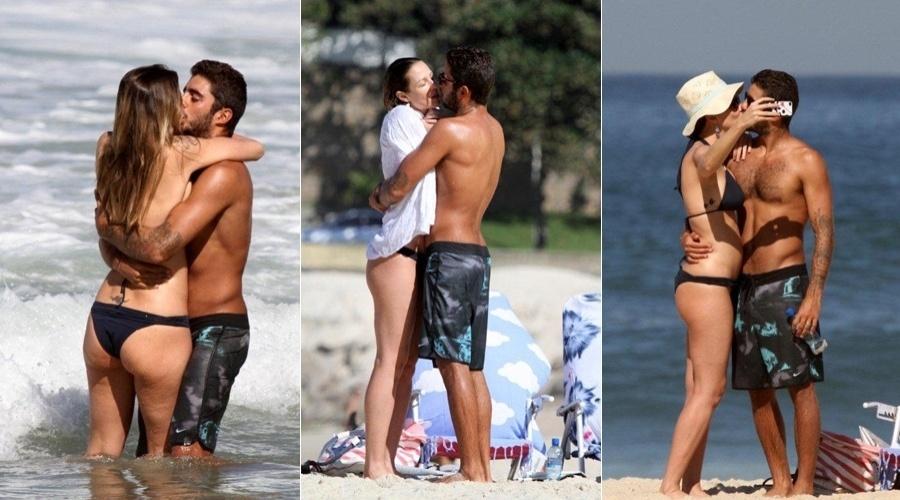 Luani Piovani trocou beijos com o marido, o surfista Pedro Scooby, em uma praia do Rio (5/7/12)