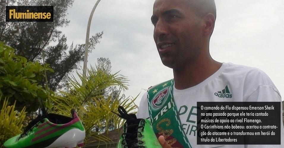 Autor dos dois gols no segundo jogo da final da Libertadores, Emerson Sheik, assinou com o Corinthians após ser dispensado do Fluminense por ter cantado músicas da torcida do Flamengo