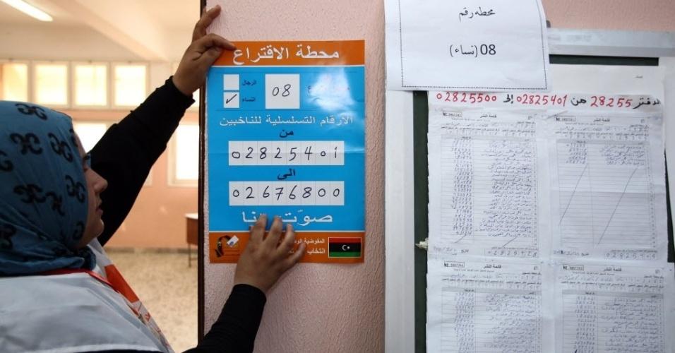 6.jul.2012 - Funcionária de comissão eleitoral da Líbia ajuda nos preparativos para as eleições que vão eleger uma Assembleia Constituinte no país, neste sábado (7). Será a primeira eleição após quase 40 anos da ditadura de Muammar Gaddafi, morto durante a revolução contra seu regime em 2011