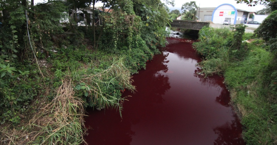 7.jul.2012 - O rio Cachoeira, em Joinville (SC), amanheceu com uma mancha vermelha neste sábado (7). Os órgãos ambientais investigam a origem do vazamento que tenha causado a mudança de cor