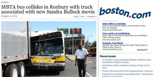 """Ônibus que se chocou contra trailer em set de """"The Heat"""", com Sandra Bullock"""