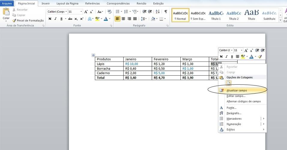 Saiba como usar tabela do Word para somar itens