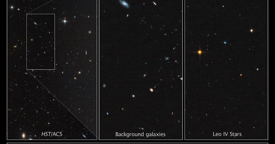 10.jul.2012 - Com ajuda do telescópio Hubble, astrônomos conseguiram descobrir por que certas galáxias-anãs ultraleves da Via Láctea possuem tão poucas estrelas. Analisando a Leão 4 (mostrada na imagem), a 500 mil anos-luz da Terra, e outras duas galáxias-anãs, eles descobriram que essas estrelas são quase tão antigas quanto o próprio Universo. Elas passaram por um processo chamado de reionização - uma névoa de hidrogênio gelado interrompeu a formação de estrelas