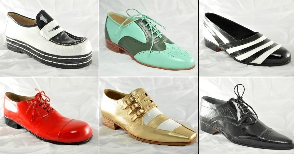 Modelos masculinos de sapatos em diferentes formatos e tipos de couro
