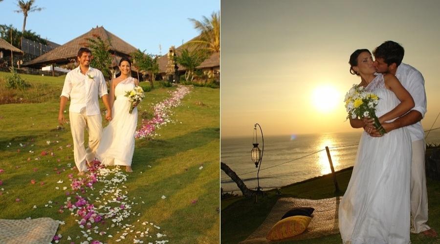 A atriz Juliana Knust e o empresário Gustavo Machado se casaram em Bali (11/7/12)