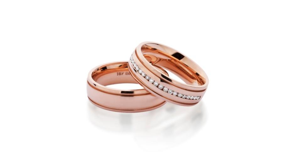 Aliança em ouro rosé com e sem brilhantes da joalheria Tani Jewel (www.tani.com.br)