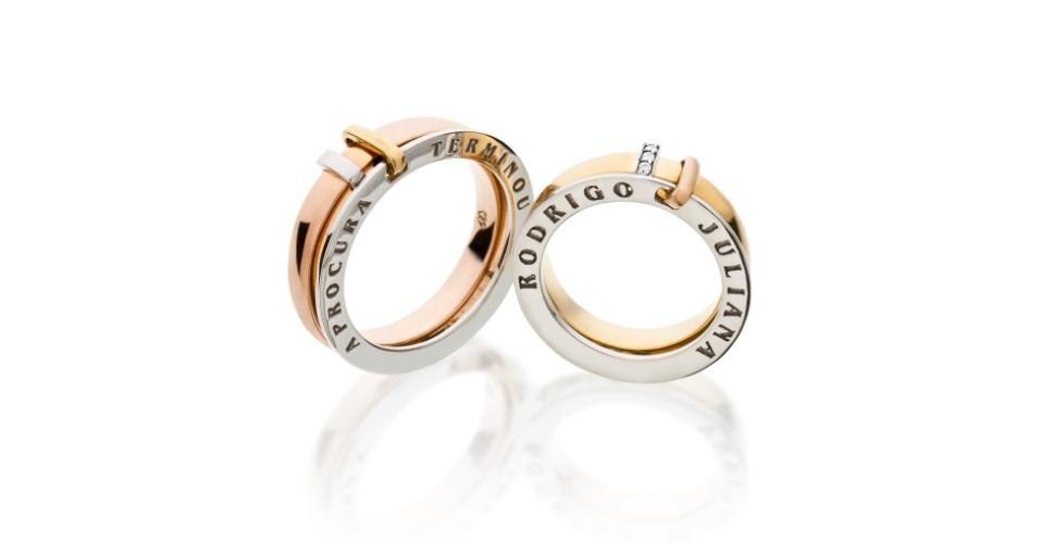 Aliança Identidade em ouro amarelo, rosé e branco e aliança Identidade em ouro amarelo, rosé e branco com diamantes da joalheria Tani Jewel (www.tani.com.br)