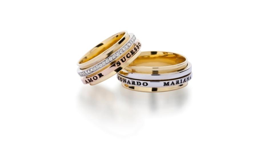 Aliança Identidade Spin em ouro amarelo e branco e aliança Identidade Spin em ouro amarelo, rosé e branco com brilhantes da joalheria Tani Jewel (www.tani.com.br)