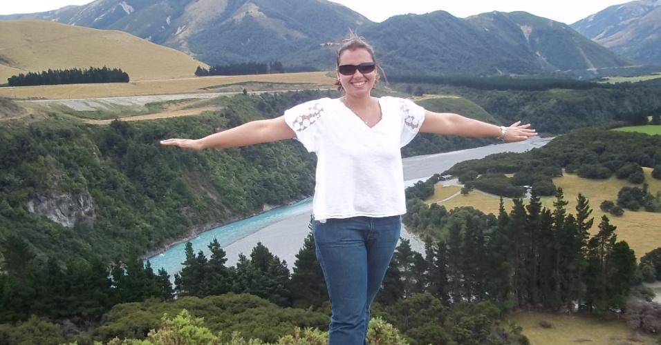 Ana Carolina em ChristChurch, a segunda maior cidade da Nova Zelândia. Ela fez um curso de inglês de três meses no país
