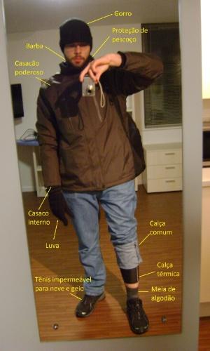 André Frank exibe o acessórios necessários para se proteger do frio