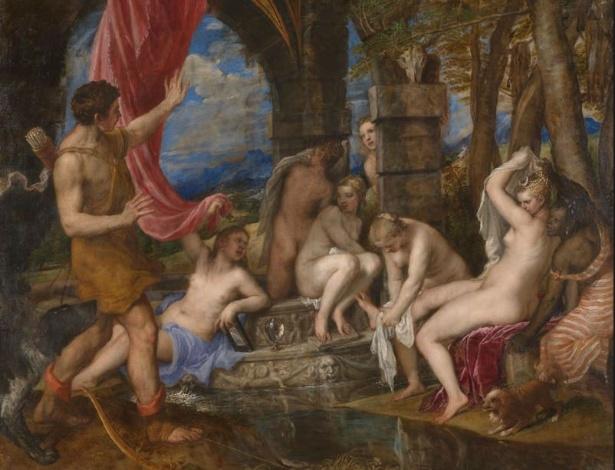 """""""Diana e Acteón"""", de Tiziano, na National Gallery de Londres - Reprodução"""